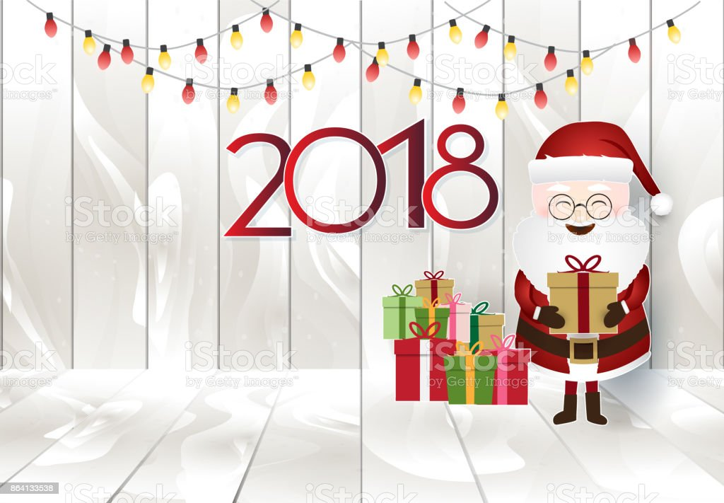 Santa holding gift box and light decoration on wooden planks, Merry Christmas and new year 2018 background royalty-free santa holding gift box and light decoration on wooden planks merry christmas and new year 2018 background stock vector art & more images of 2018