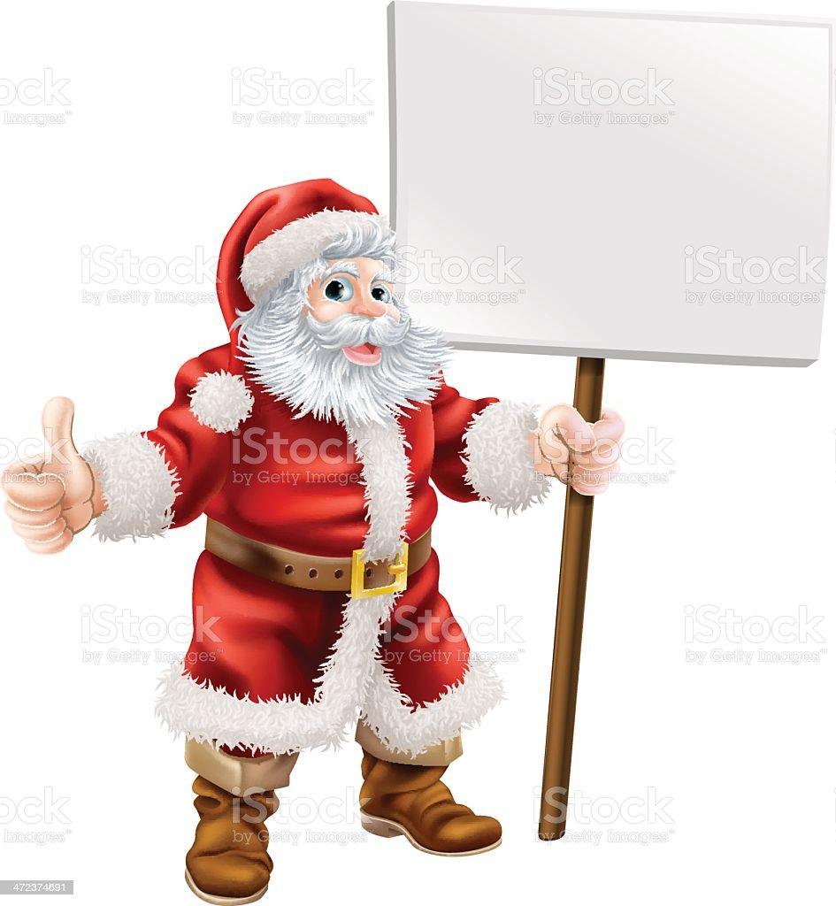 Santa Holding Zeichen Und Machen Daumen Hoch Vektor Illustration ...
