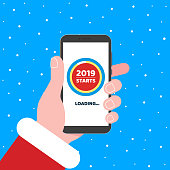 Santa holds phone with timer on the loading page on screen. 2019 almost starts. Flat style design invitation to xmas or 2019 new year party event postcard vector illustration isolated on background.