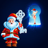 Santa Claus holds the key to the big ice castle. In the keyhole is visible beautiful sexy girl. Invitation to 2016. New years. Christmas. Vector. Icon.
