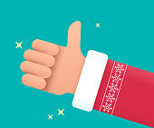 istock Santa Holiday Thumbs Up Hand 1289745767