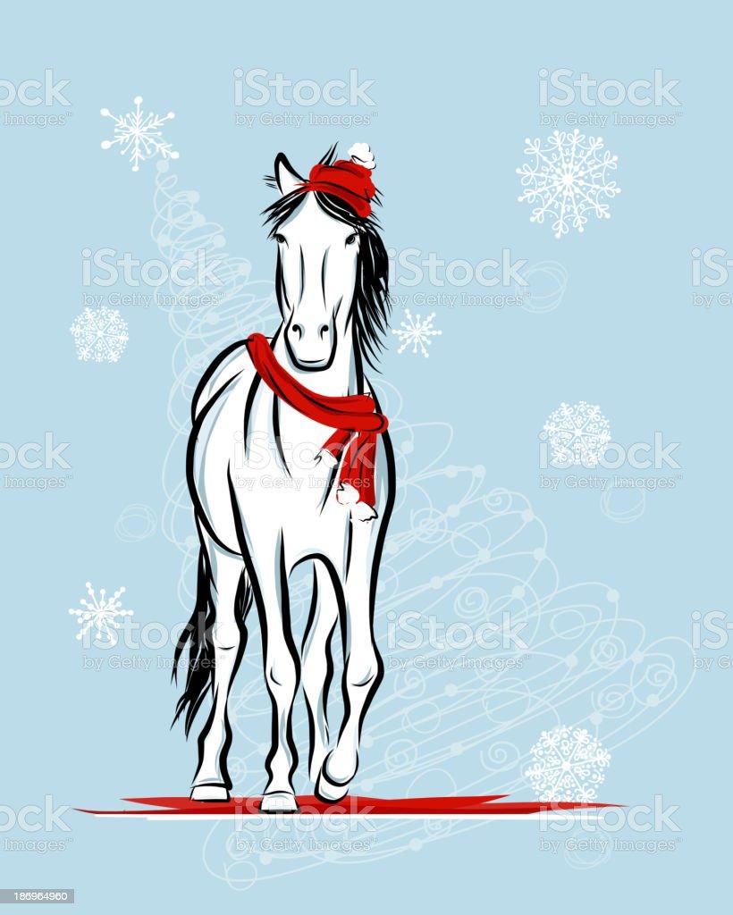 Santa horse sketch for your design. Symbol of 2014 year