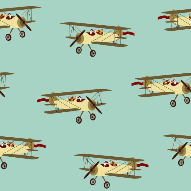 Santa in airplane seamless pattern vector art illustration