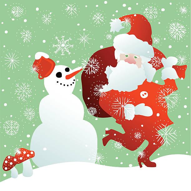 santa in big hurry meeting a happy snowman vector art illustration