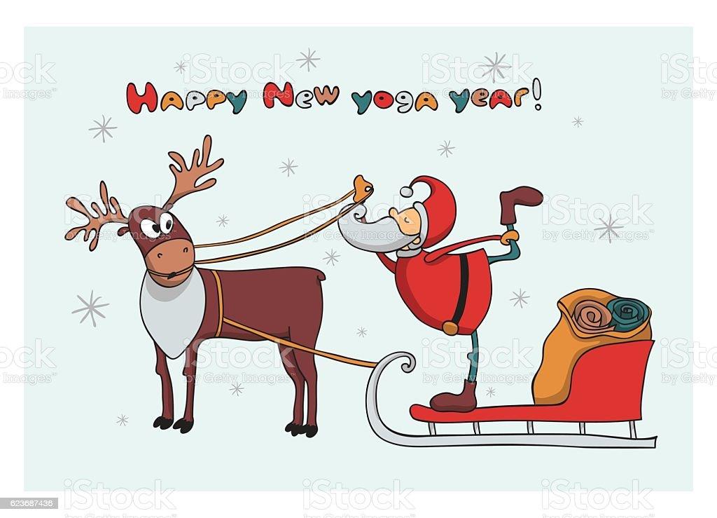505f252fd3 Santa In Christmas Cart Doing Yoga Stock Vector Art   More Images of ...
