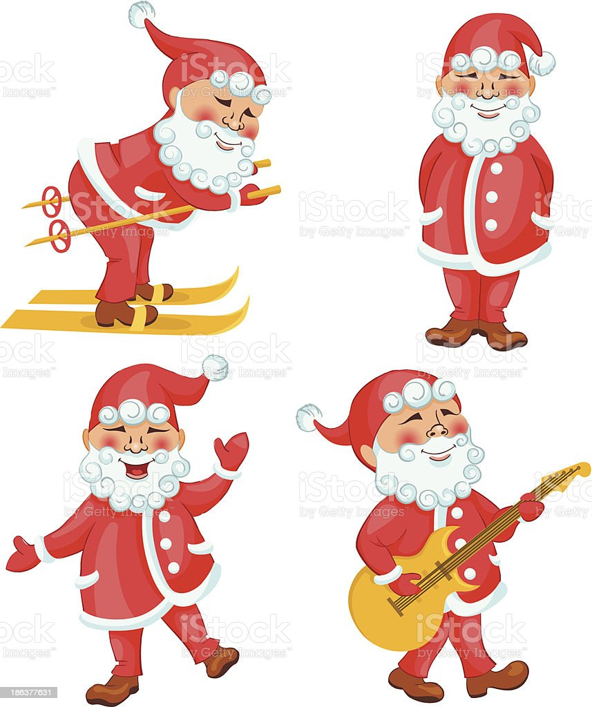 Santa In Different Actions Cartoon Set Stock Vector Art & More ...