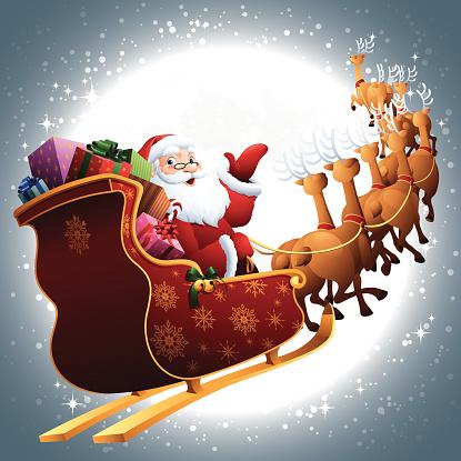 Santa in his sleigh flying through full moon sky