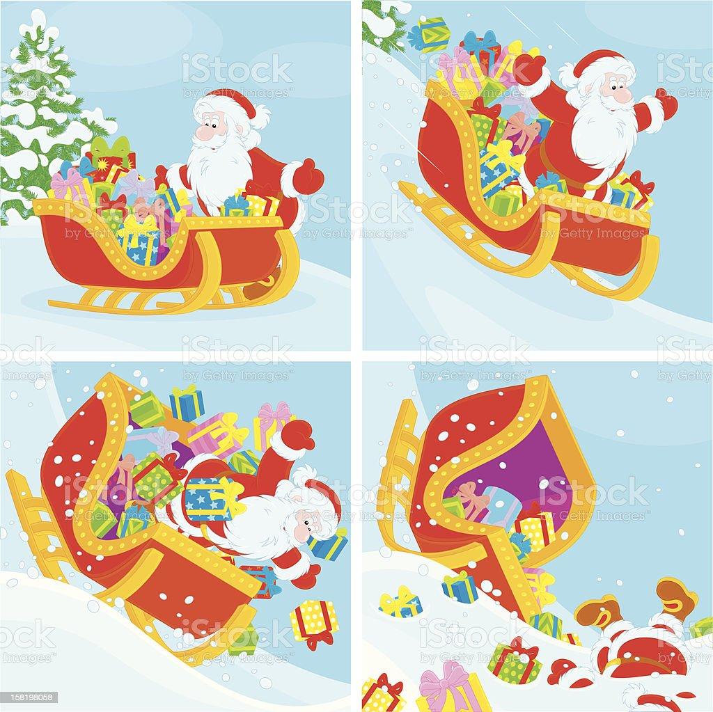 Weihnachtsmann Im Schlitten Slipper Den Hügel Hinunter Stock Vektor