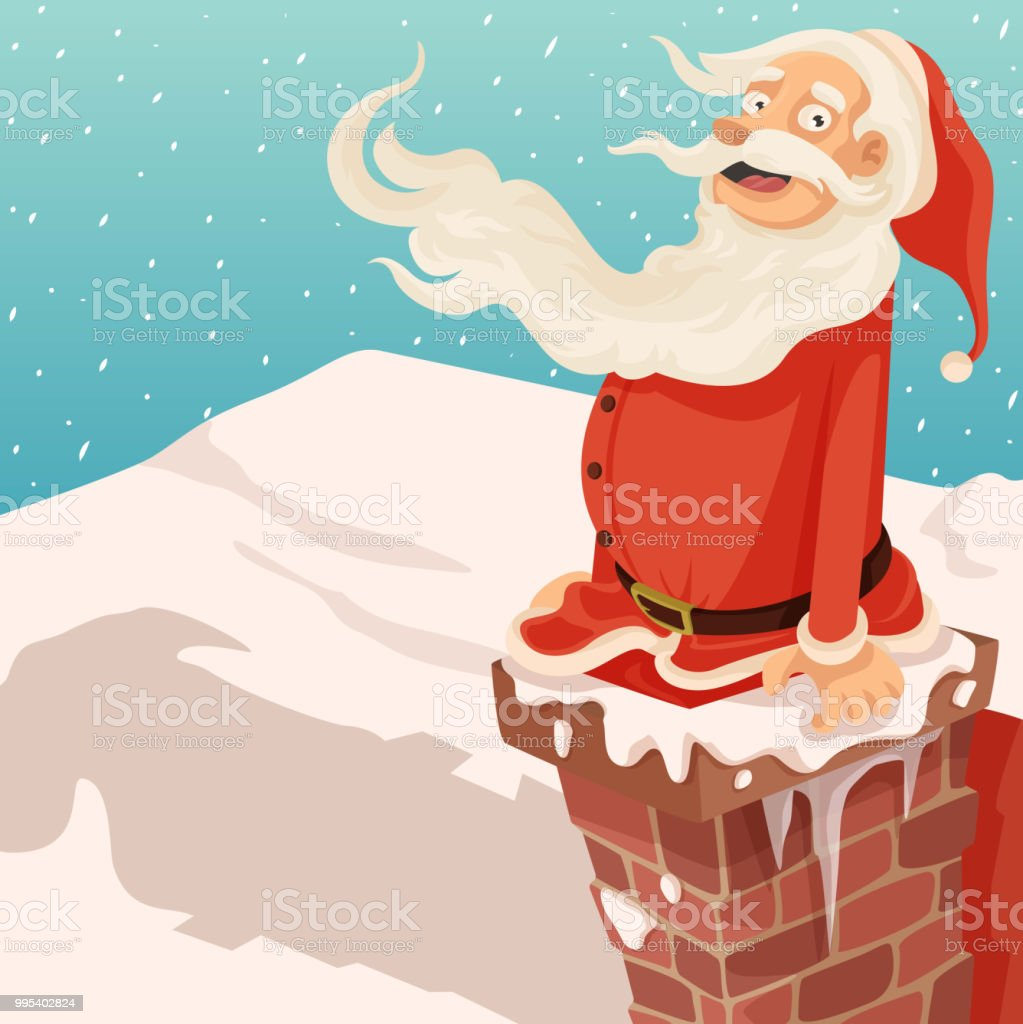 Santa in the Chimney! vector art illustration