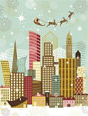 Santa has arrived to the big city. Elements grouped independently.
