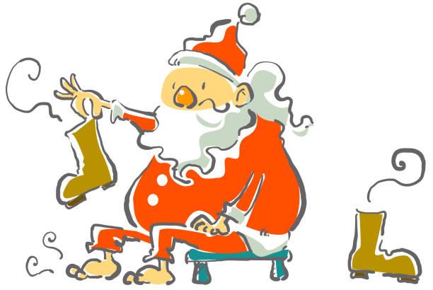 santa in schwierigkeiten - nikolausstiefel stock-grafiken, -clipart, -cartoons und -symbole