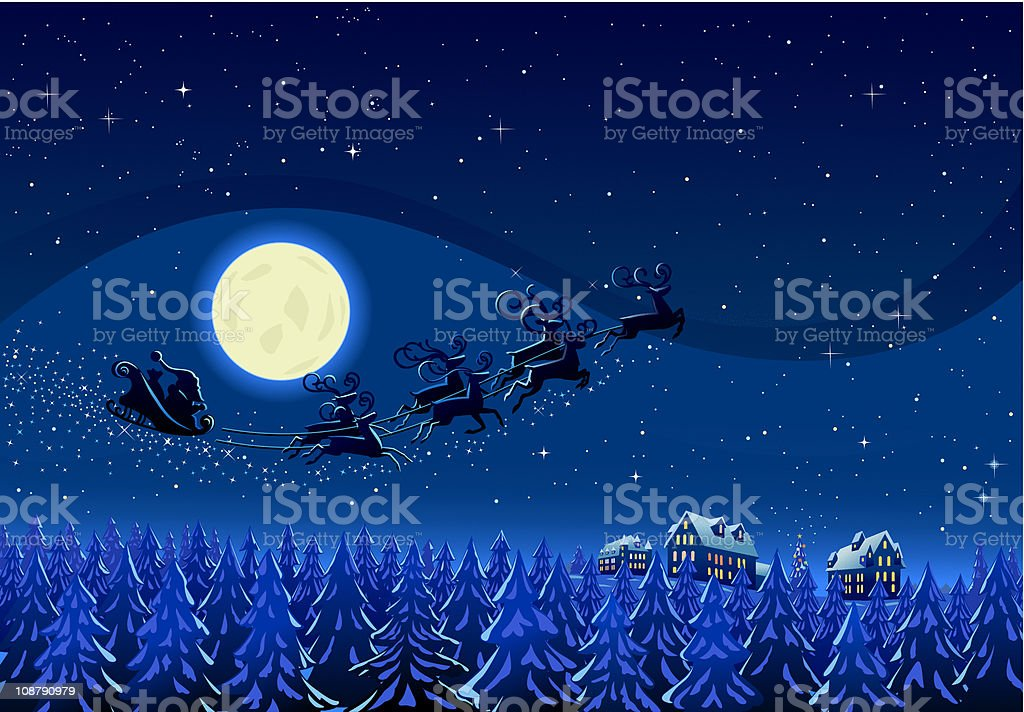 Santa Into the Winter Christmas Night royalty-free santa into the winter christmas night stock vector art & more images of blue