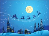 Santa Flying in the Christmas Night