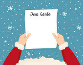 Santa is holding in his hands reading a letter. Dear santa. Vector illustration