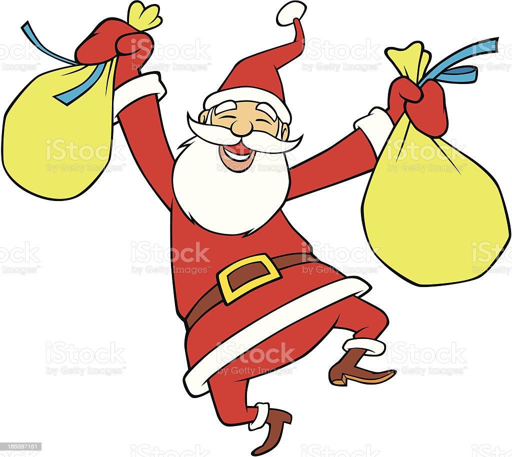 Santa saltos Joyfully ilustração de santa saltos joyfully e mais banco de imagens de alegria royalty-free
