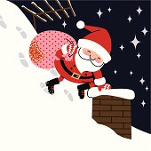 Santa with a bag of gifts at a chimney.Please see more similar images here: