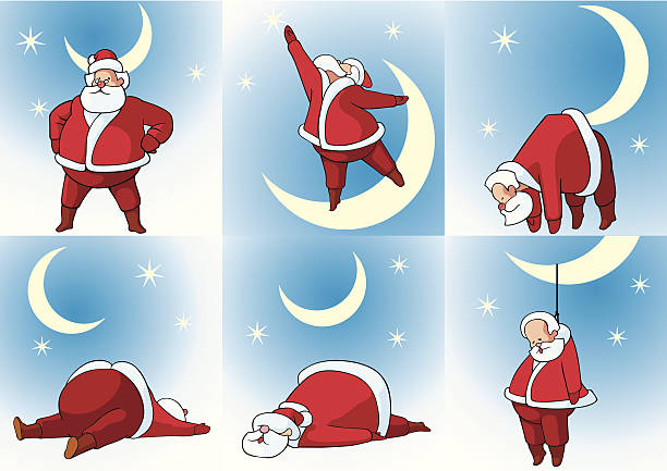 santa klaus and moon - old man funny pictures stock illustrations