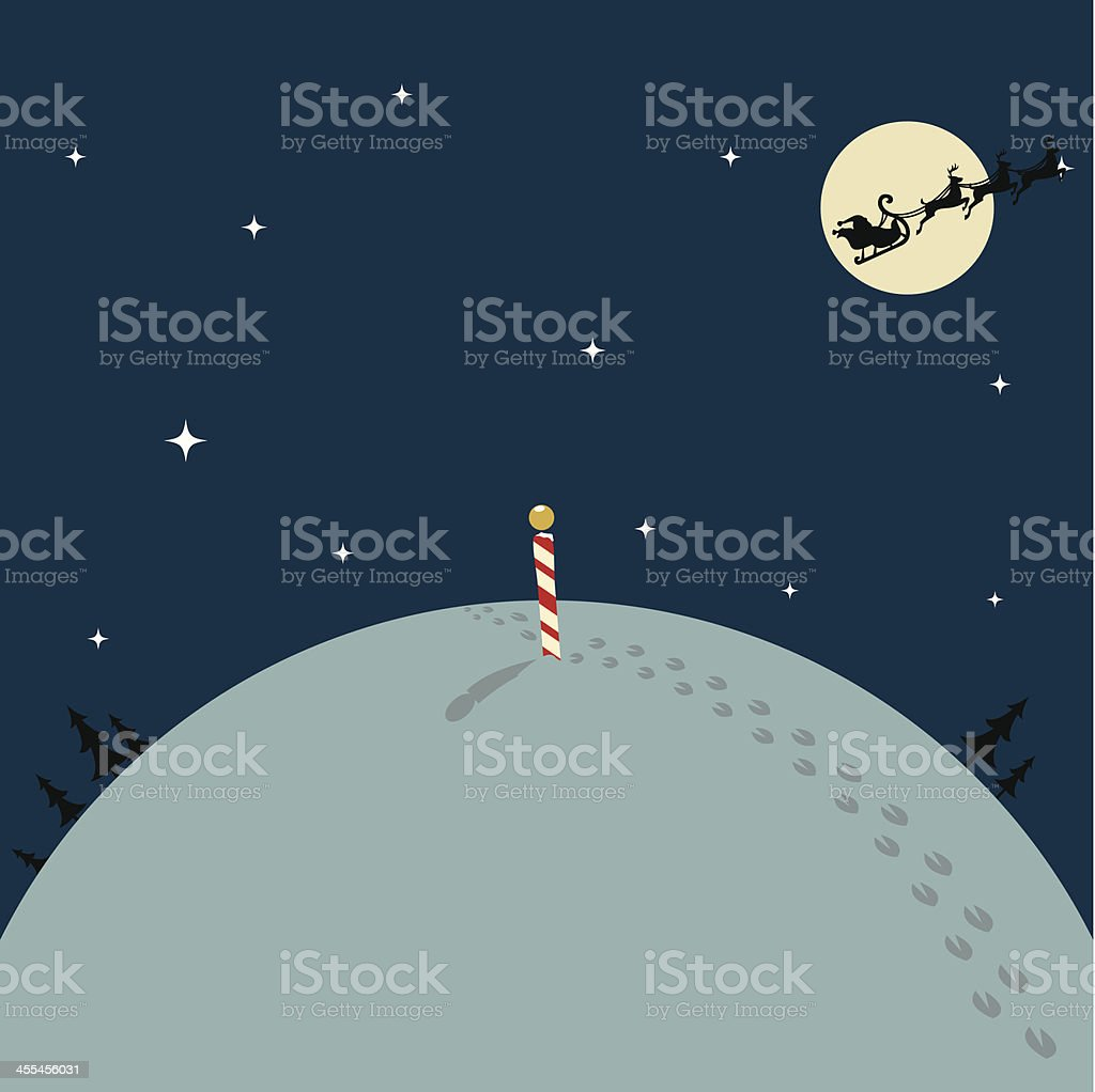 Santa Leaving the North Pole royalty-free stock vector art