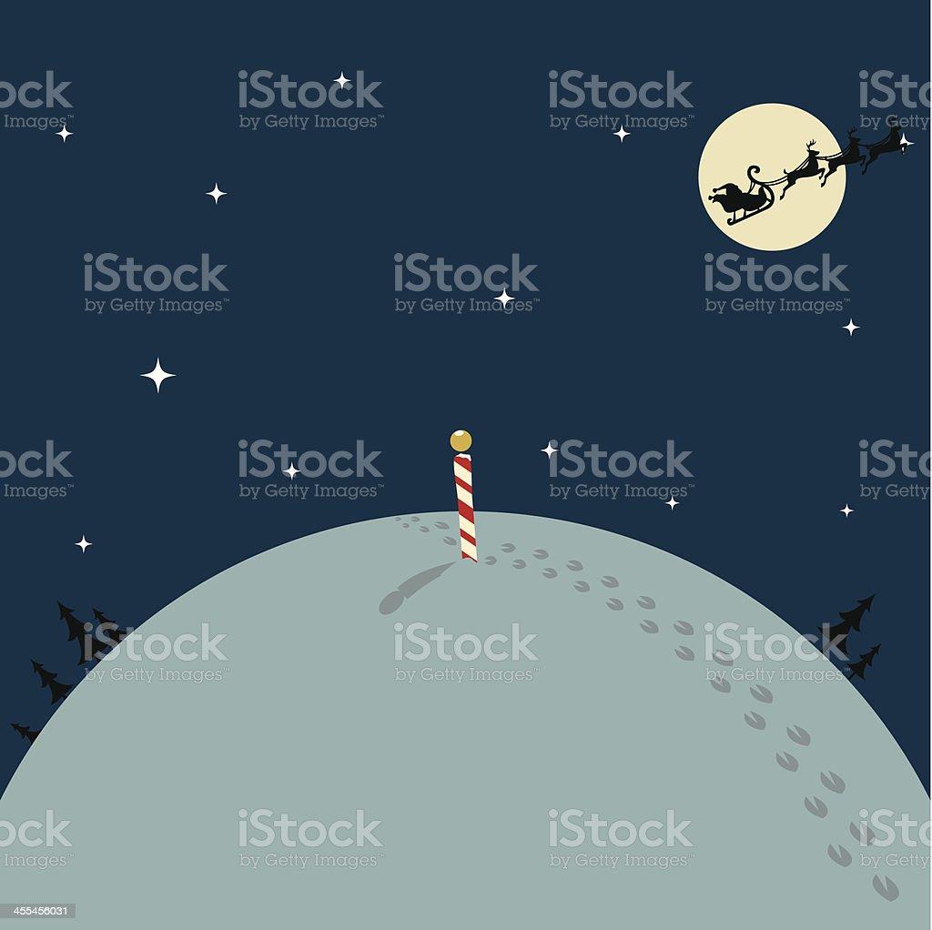 Santa Leaving the North Pole vector art illustration