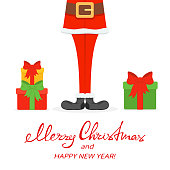 Lettering Merry Christmas and Happy New Year with Santa legs in black shoes and gifts isolated on white background, illustration.