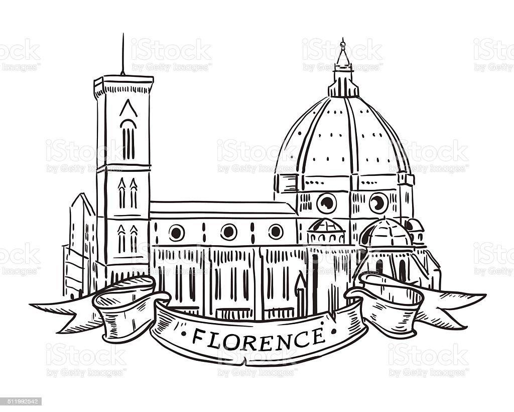 Santa Maria del Fiore, Florence vector art illustration