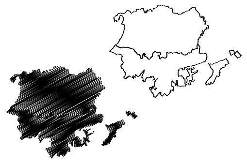 Santa Marta City (Republic of Colombia, Department of Magdalena) map vector illustration, scribble sketch City of Distrito Turístico, Cultural e Historico de Santa Marta map