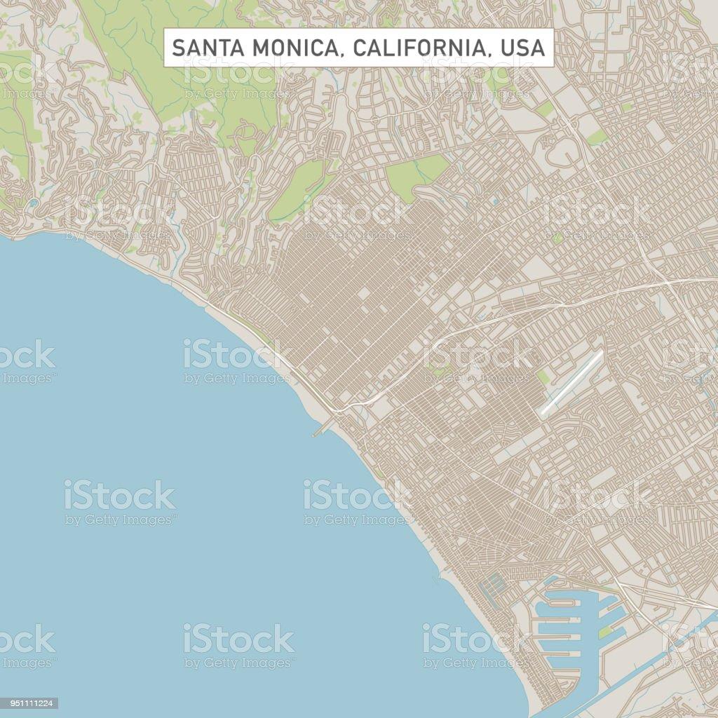 Santa Monica California US City Street Map vector art illustration