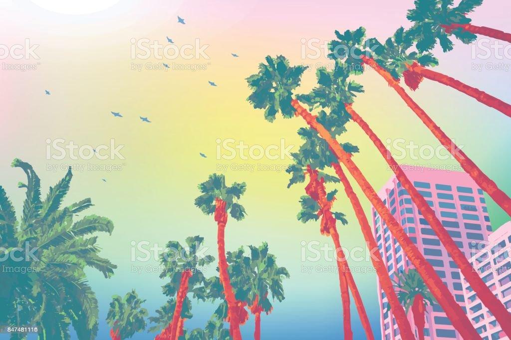 Santa Mónica Palma cielo - ilustración de arte vectorial