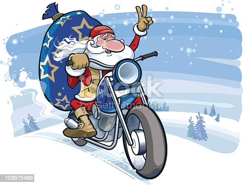 istock Santa motobiker 103975489