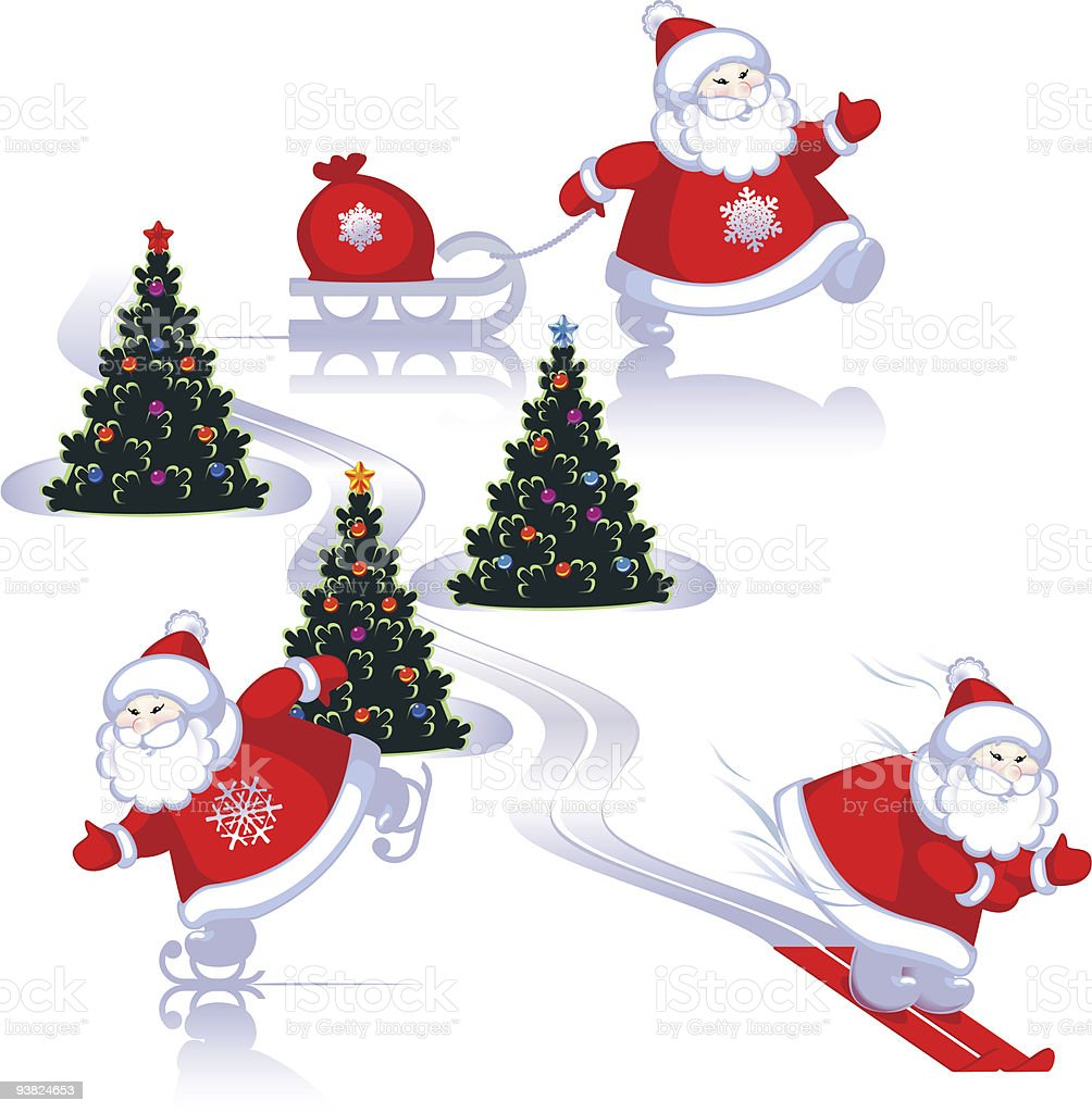 Santa moves royalty-free stock vector art