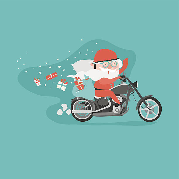 santa on a motorcycle - old man funny pictures stock illustrations