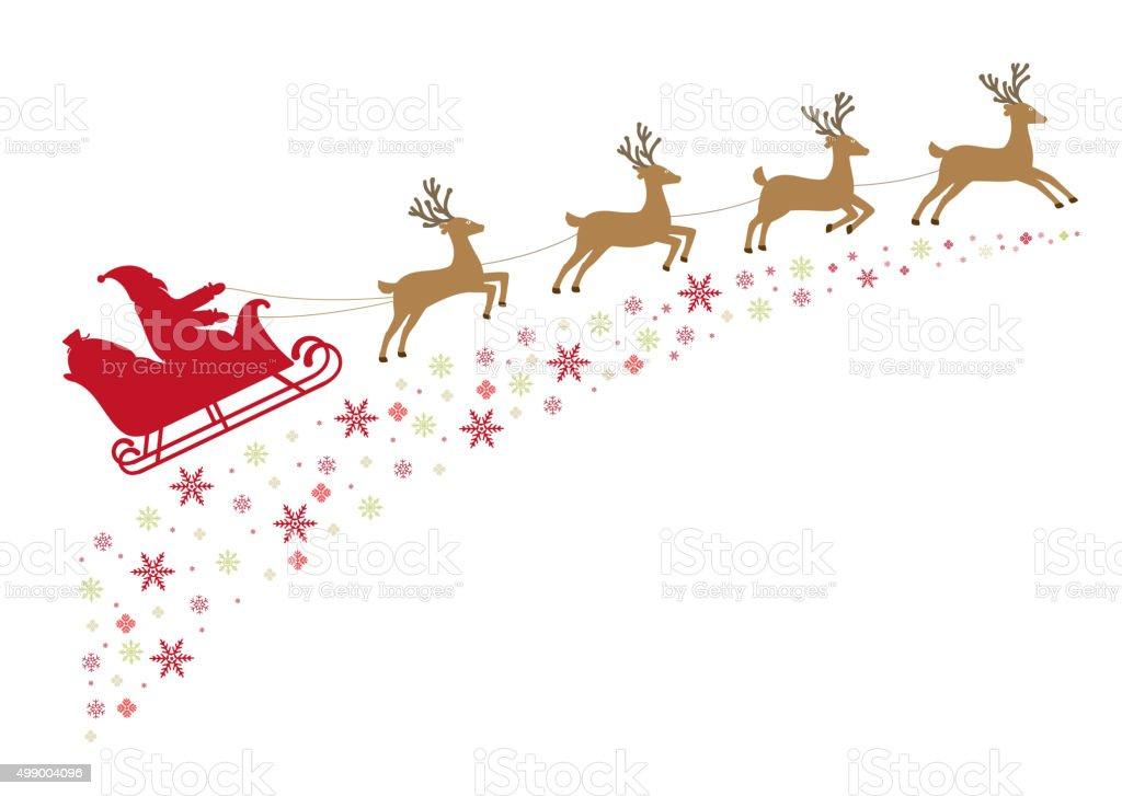 Renne Babbo Natale.Babbo Natale In Una Slitta Con Renne Immagini Vettoriali Stock E