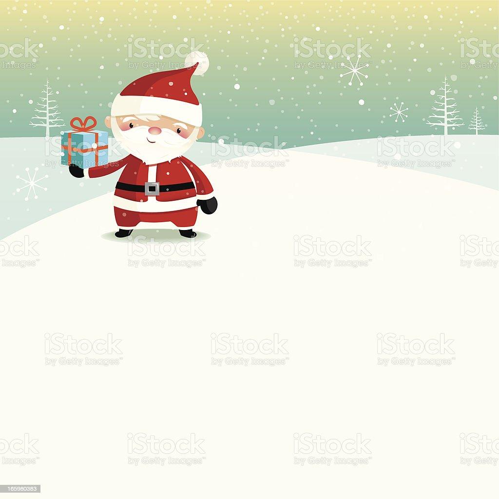 Santa on a snowy hill royalty-free stock vector art