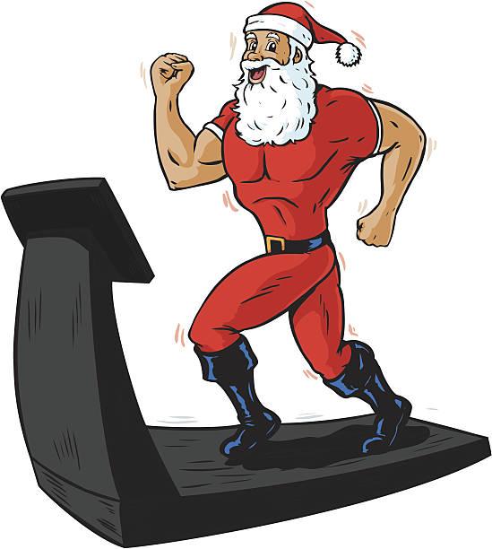 bildbanksillustrationer, clip art samt tecknat material och ikoner med santa on a treadmill - gym skratt