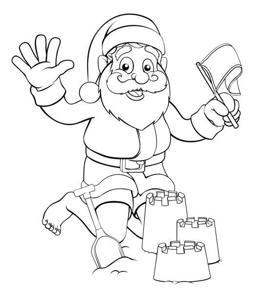 Santa on Beach Making Sandcastles Santa Claus Christmas character on the beach making sandcastles australian christmas stock illustrations