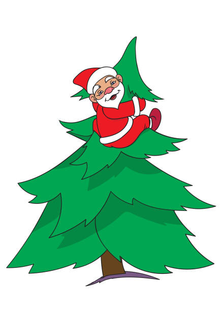 santa on new year tree vector art illustration