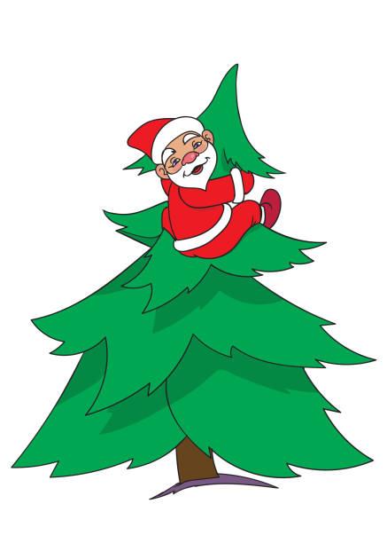 santa on new year tree vector art illustration