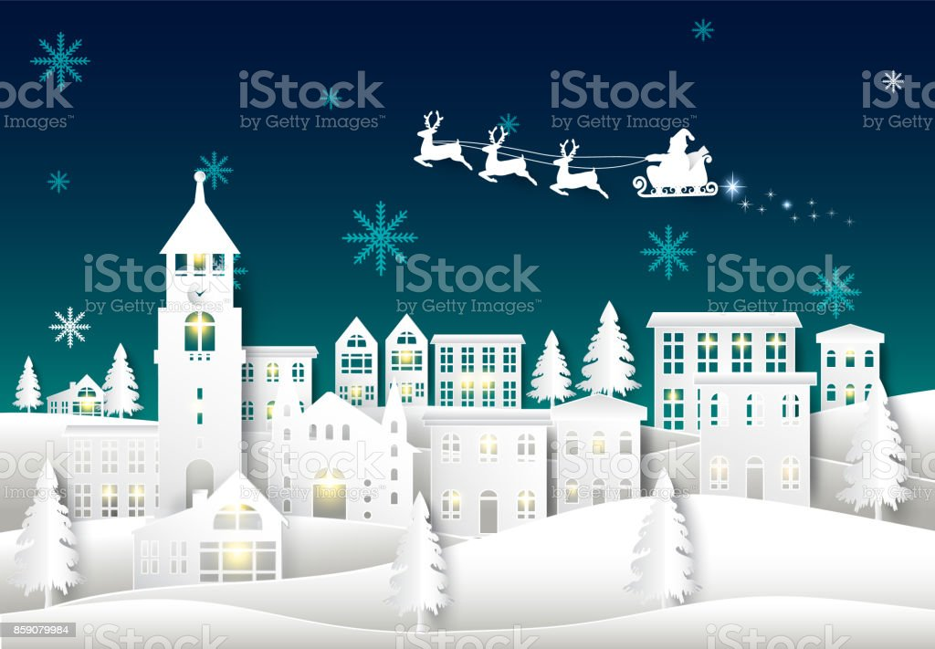 Santa on night sky in city town paper art Winter background. Christmas season paper cut style illustration vector art illustration