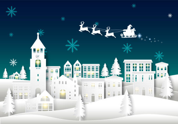 Santa on night sky in city town paper art Winter background. Christmas season paper cut style illustration Santa on night sky in city town paper art Winter background. Christmas season paper cut style illustration village stock illustrations