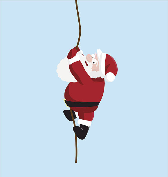 santa on the rope - old man funny pictures stock illustrations