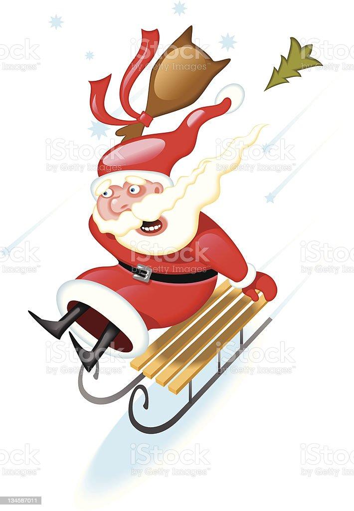 Santa on the sled royalty-free stock vector art