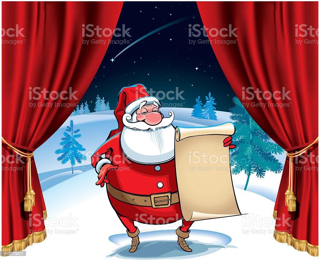 Santa on the stage vector art illustration