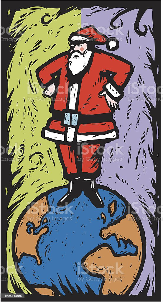 Santa on The World royalty-free santa on the world stock vector art & more images of celebration event