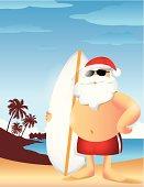 Santa on Vacation Illustration