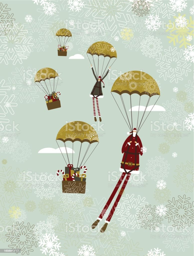 Santa parachuting royalty-free stock vector art