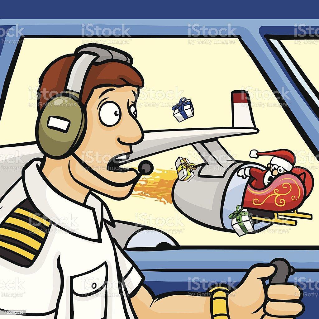 Santa Plane Accident vector art illustration