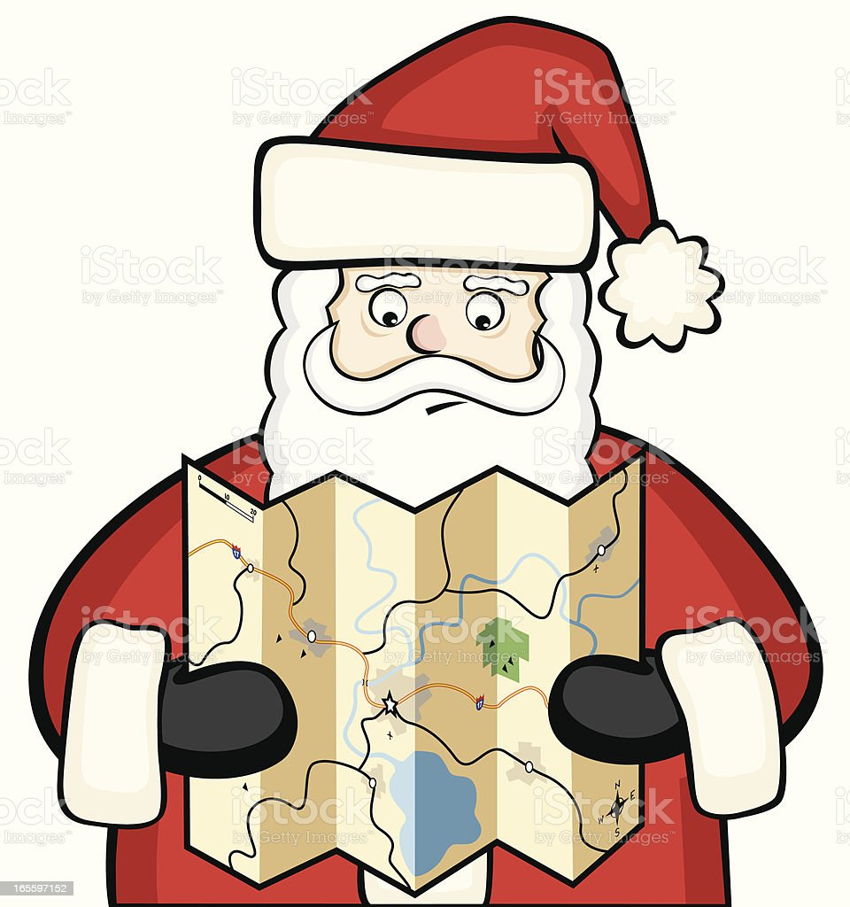Santa Plans His Big Trip royalty-free santa plans his big trip stock vector art & more images of cartoon