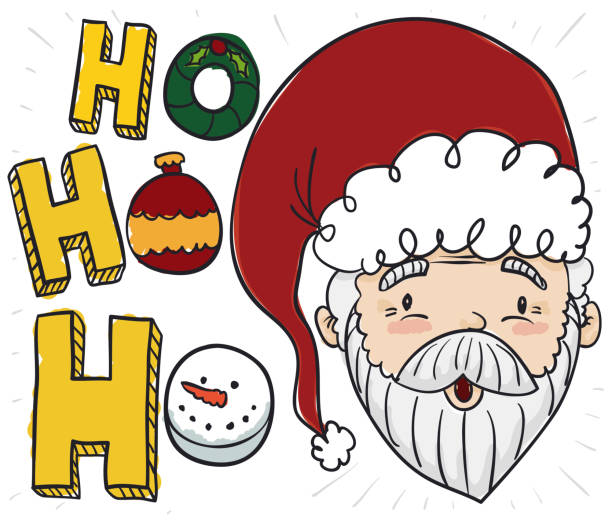 santa practicing his laugh for christmas with decorative elements - secret santa messages stock illustrations