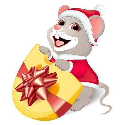 Santa rat vector