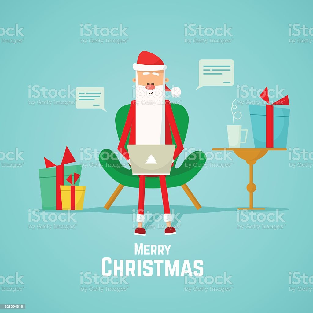 Santa receives mail from kids christmas card stock vector art more santa receives mail from kids christmas card royalty free santa receives mail from kids m4hsunfo